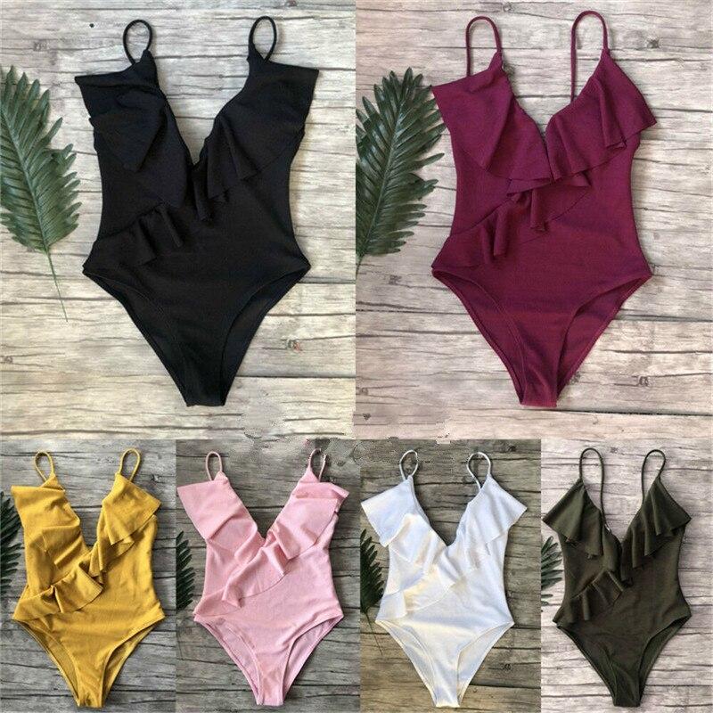 Femmes rembourré Bikini natation Costume volants dos nu une pièce maillot de bain maillot de bain monokini maillots de bain