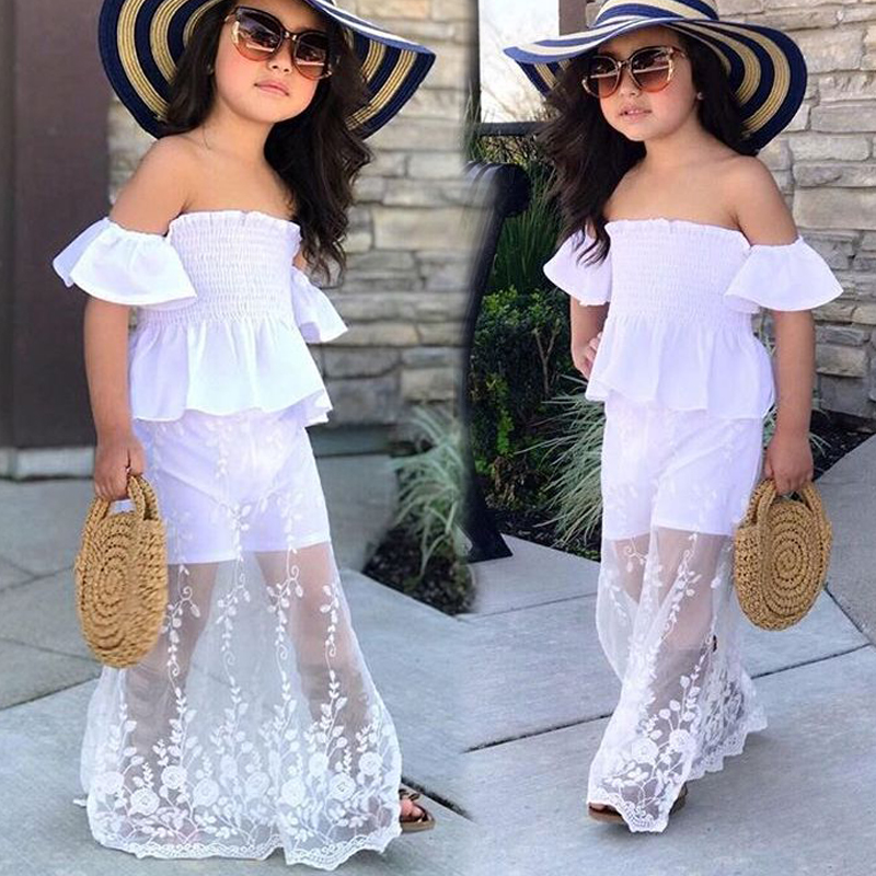 Youngster Lady Garments Set Summer time Two Items Outfit Prime & Skirt Off Shoulder Lace Spliced Candy Youngsters Clothes Swimsuit 2 three four 5 6 7 Years Aliexpress, Aliexpress.com,...