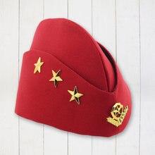 1 pieza piezas boina sombrero tres estrellas trigo creativo boinas de otoño gorra  militar marinero sombrero para azafata actuaci. 99f49f44139