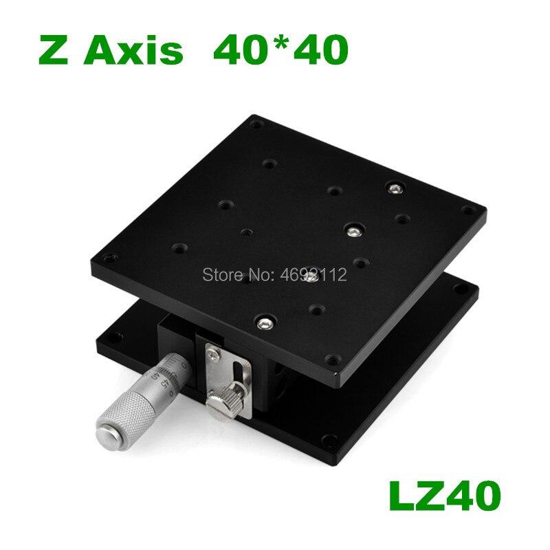 Gratis Verzending Z As 40*40mm Verplaatsing Lift Stage Manual Fine Tuning Platform Cross Rail Sliding Tafel 40 * 40mm Lz40