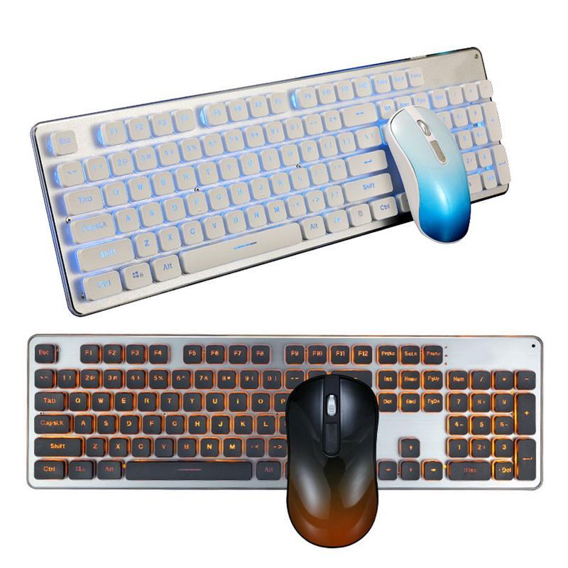Jeu de lumière de charge souris et clavier mis muet sans fil silencieux clavier et souris bureau clavier souris peut automatique sommeil