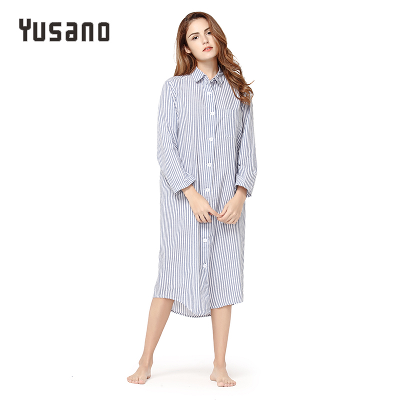89435f6b3f Detail Feedback Questions about Yusano Women Nightgown Cotton Sexy Home  Dress Nightwear Long Sleeve Nightshirt V Neck Stripe Print Sleep Dress  Sleepwear ...
