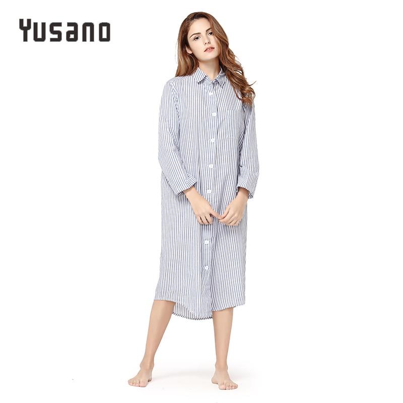 2f55e64f99 Detail Feedback Questions about Yusano Women Nightgown Cotton Sexy Home Dress  Nightwear Long Sleeve Nightshirt V Neck Stripe Print Sleep Dress Sleepwear  ...