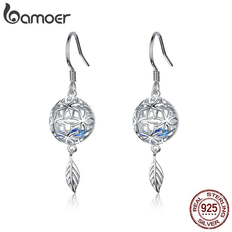 BAMOER 100% 925 Sterling Silver Preserved Flower Round Shape Dangle Drop Earrings For Women Wedding Engagement Jewelry SCE573