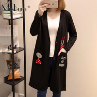 XL 5XL Big Plus Size Cardigan Women Clothes Winter Autumn 2019 Cute Cartoon Embroidery Long Sleeve Loose Casual Long Coat Black