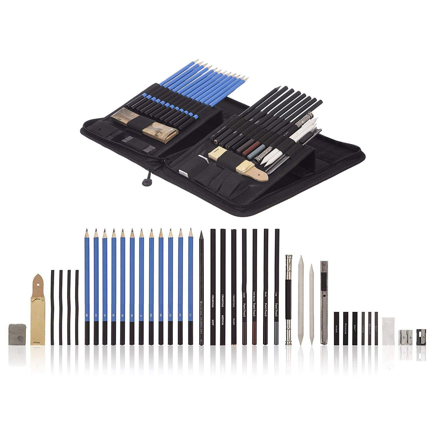 40 Piece Drawing Pencils And Sketch Set In Pop Up Zipper Case Pastel And Charcoal Pencils And Accessories Luxuriant In Design Includes Graphite