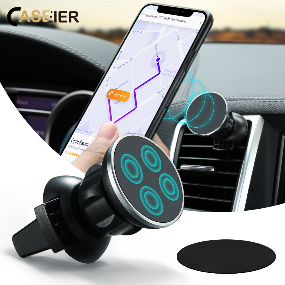 CASEIER Car Phone Holder For iPhone X Magnetic Holder For Phone in Car 360 GPS Air Mount Stand Universal Holders Soporte Movil in Phone Holders Stands from Cellphones Telecommunications
