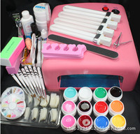 25 in 1 Acrylic Nail Art Tips Liquid Buffer Glitter Deco Tools Full Kit Set Women DIY Nail Art Manicure Suit