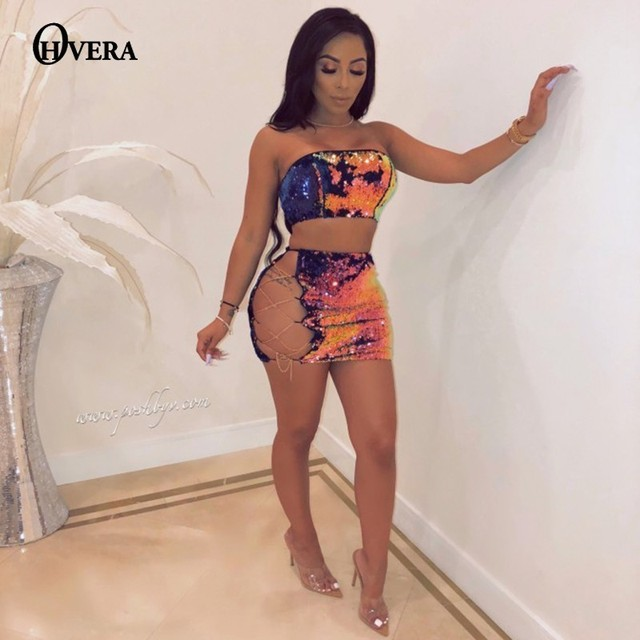 541f88dc67 Ohvera Sexy Sequin Two Piece Set Strapless Crop Top And Mini Skirts Party 2  Piece Set Women Summer Outfits