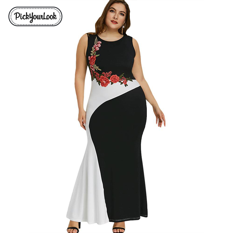 Floral Women Maxi Plus Size Dress Summer Sleeveless Rose Embroidery Patchwork Lady Dress Large Evening Party Dress D40