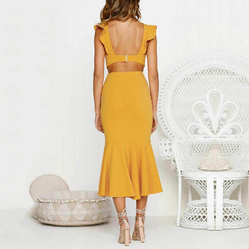 ... new classy Women Ladies Solid Color dress Sexy Sleeveless ruffle Casual    formal Cocktail Party chic ... 6cfd7334329e