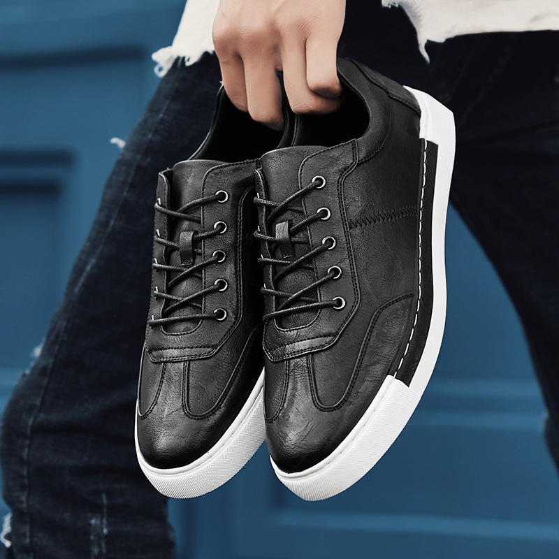 Fashion Leisure Flat Vulcanize Shoes For Men Winter High Top Lace-up Casual Shoes Sewing Solid Boys Students Sneakers Men's Vulcanize Shoes Men's Shoes