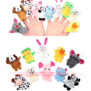 Family Finger Puppets Cloth Doll Baby Educational Hand Cartoon Animal finger Toys Sets