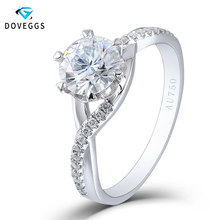 DovEggs Solid 18K 750 White Gold 1ctw Diameter 6.5mm F Color Lab Grown Moissanite Twisted Band Engagement Ring for Women