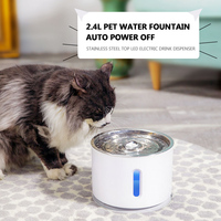 2.4L Automatic LED Cat Water Fountain Electric Water Fountain Cat Dog Drinker Bowl Pet Drinking Fountain Dispenser