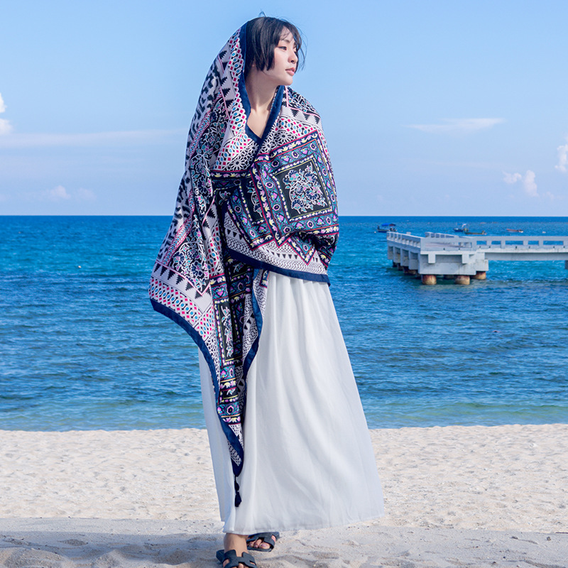 Bohemian Cotton and Linen   Scarf   Shawls Travel Sunscreen Large Air Conditioning   Scarves     Wraps   Summer Beach Towels 180*90cm