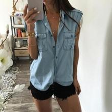 Fashion Women Summer Vest Denim Solid Sleeveless Casual Blou