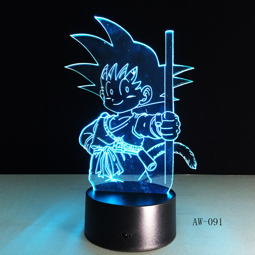 Dragon Ball Super Saiyan God Goku Action Figures 3D Illusion Table Lamp 7  Color Changing Night Light Child Kids Gifts AW-091