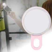 цена на LED Phone Selfie Fill Light Mini Portable Wide Angle Universal Clip Night Light with Mirror