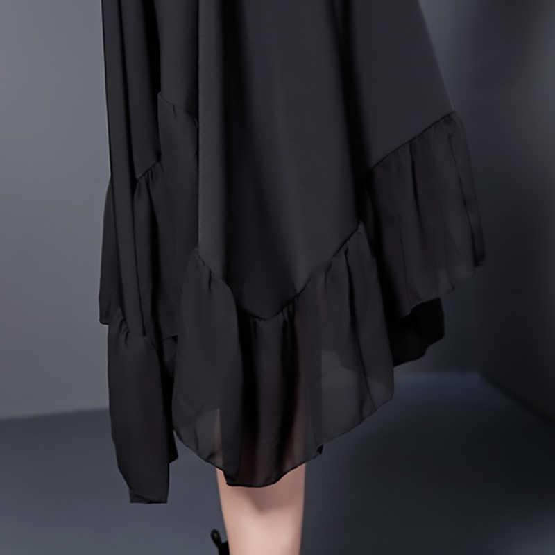 [EAM] 2017 new summer autumn round neck short sleeve solid color black split joint loose big size dress women fashion tide 446