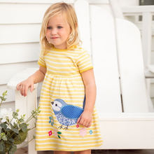 2019 girls summer dress Bird's printed striped princess dress sunny solid cotton kids dresses for girls 2-7T party Robe Fille