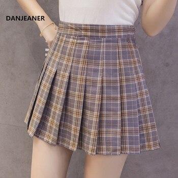 3a80669d1 Falda clásica a cuadros con cintura alta plisada falda patinadora de ...