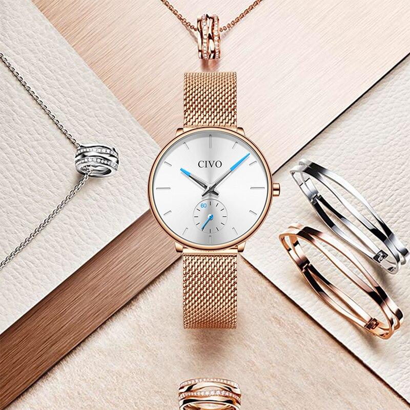 CIVO étanche en acier blanc maille bracelet femmes montres de luxe Quartz dames montres décontracté femmes horloge Montre Femme - 2