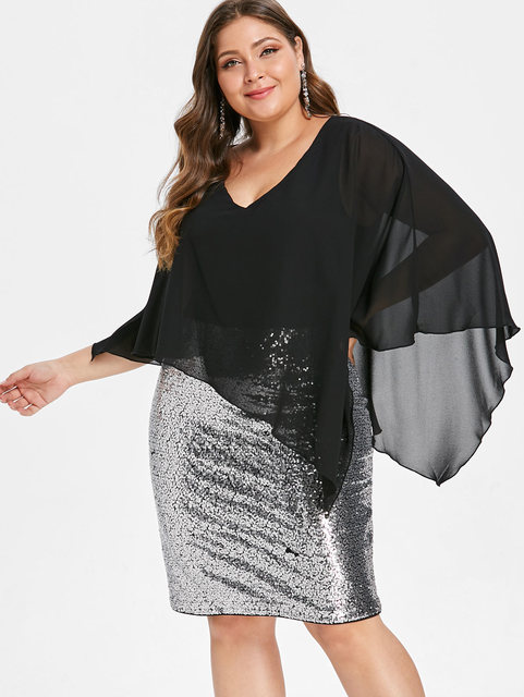 Wipalo Plus Size Chiffon Overlay Sexy Sequined Overlay Capelet Dress V-Neck Women  Bodycon Party 18df0eecc03b