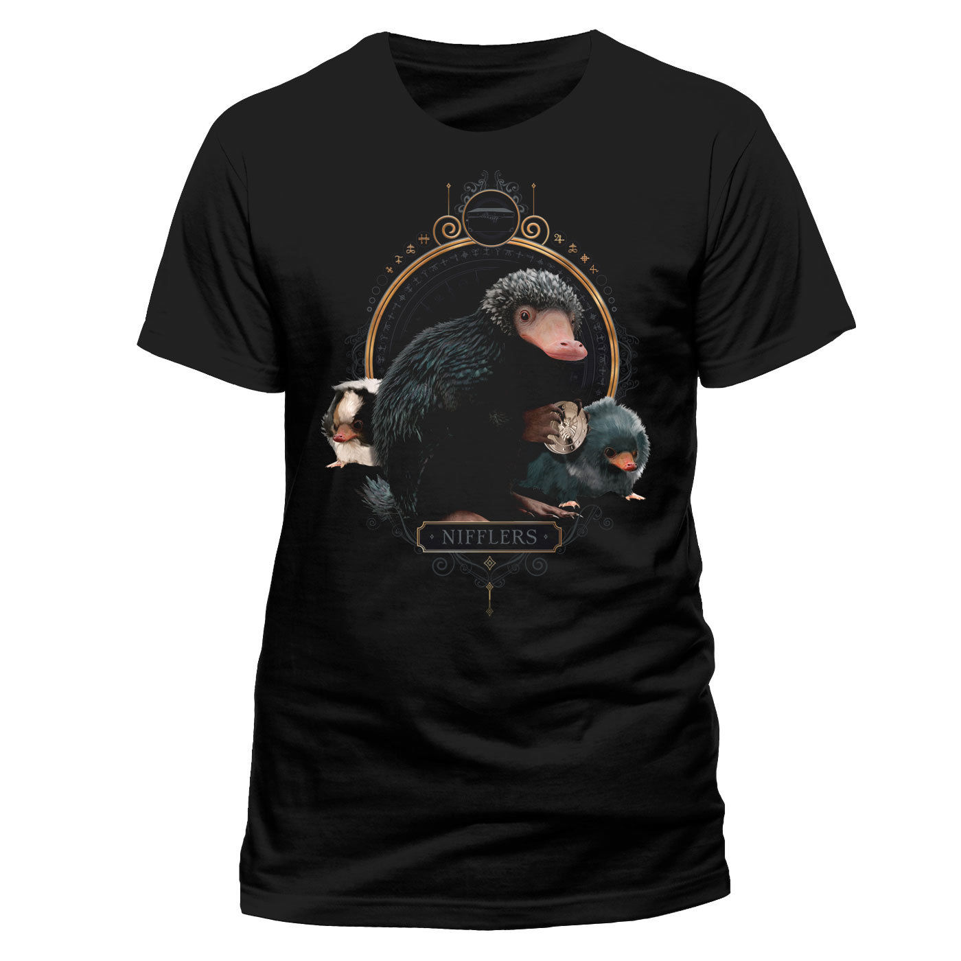 OFFICIAL FANTASTIC BEASTS - CRIMES OF GRINDELWALD - NIFFLERS BLACK T-SHIRT (NEW) Comfortable t shirt,Casual Short Sleeve TEE