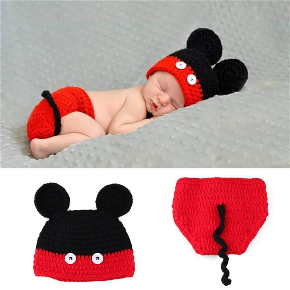 Baby Boy Girl Overall Crochet Knit Hat Costume Beanie Diaper Photography Prop
