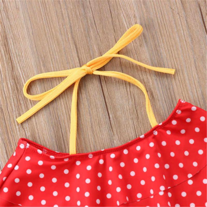 Бикини для девочек Плавание ming пляжные костюмы для малышей Одежда для детей; малышей; девочек красный в горошек Топы черные купальные плавки Плавание костюм для купания пляжная одежда комплект