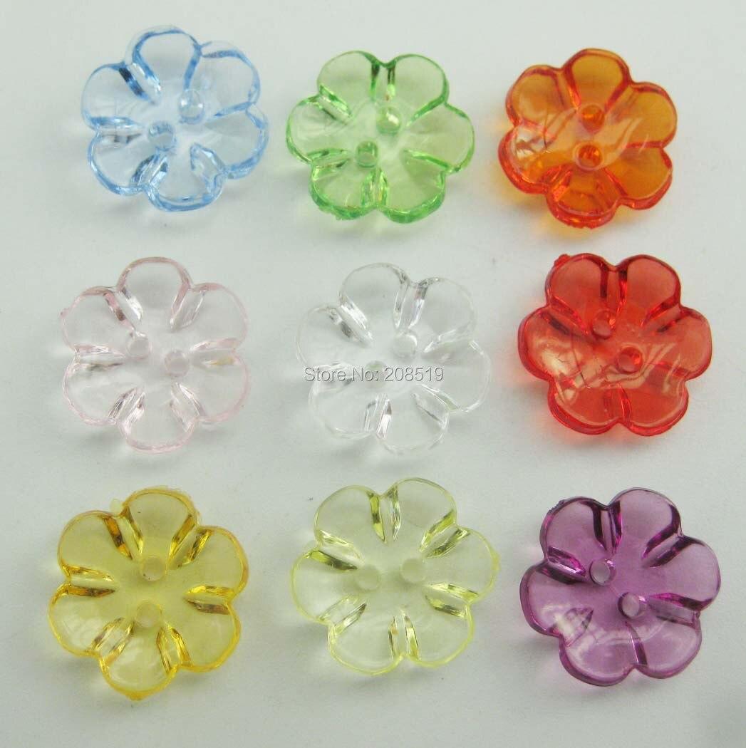 NBNLGK Dyed nylon buttons flower shape 15mm mix 100pcs children garment buttons sewing supplies in Buttons from Home Garden