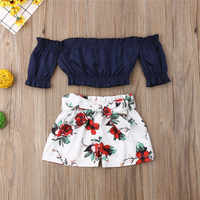 1-6 T Kleinkind Kinder Baby Mädchen Blume Off Schulter Crop Tops Shorts Outfit Sunsuit 2 stücke Casual Kleidung set