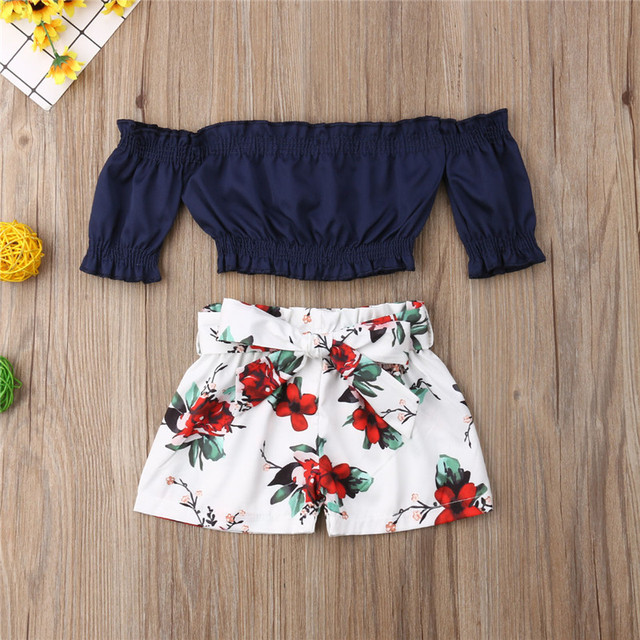 1-6T Toddler Kids Baby Girl Flower Off Shoulder Crop Tops Shorts Outfit Sunsuit 2pcs Casual Clothes Set