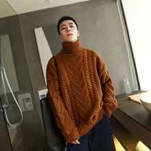 2018 Winter Men Male Casual Loose Solid Color Thicken Warm Turtleneck Cashmere Woolen Pullover Knitting Brand Sweater Homme M-XL