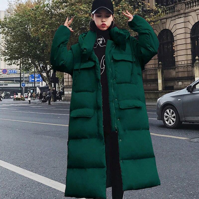 Зимняя длинная куртка для женщин с высоким воротником и капюшоном, большой карман, Толстая теплая Женская парка, Дамское пальто, большие раз... - 6