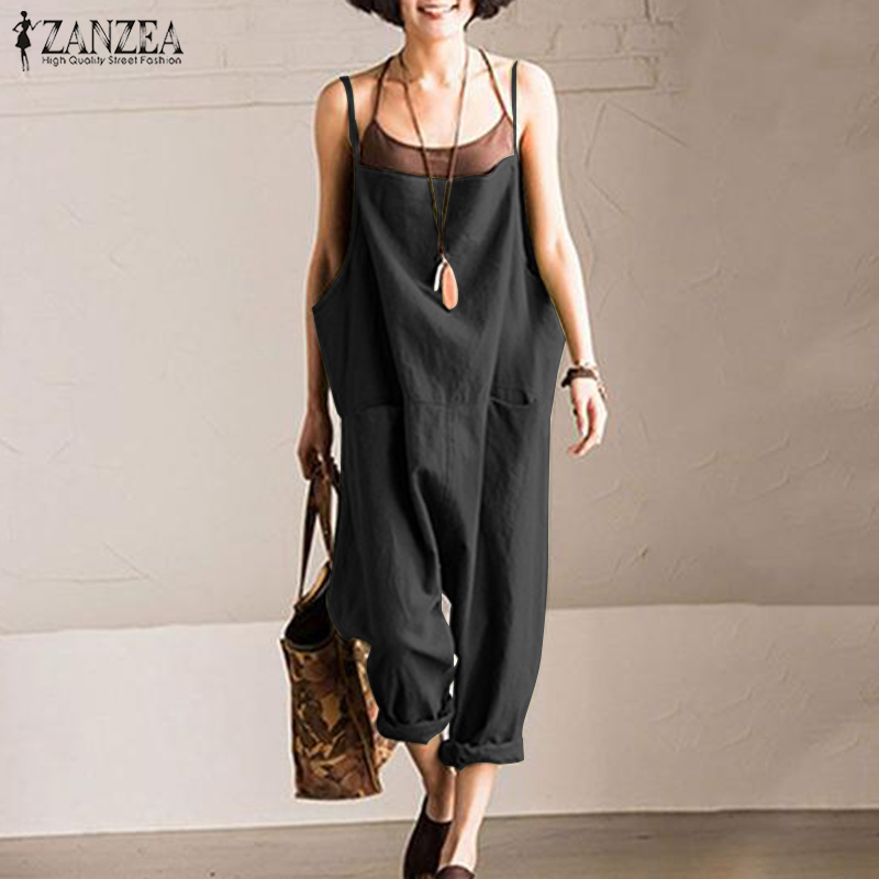 2019 ZANZEA Women Summer Suspenders Harem Pants Ladies Solid Loose   Jumpsuits   Casual Cotton Linen Rompers Baggy Overalls Playsuit