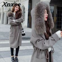 Women long double woolen coat sleeve loose overcoat with hooded outerwear female winter autumn trench coats plus size Xnxee