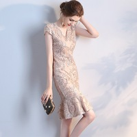 Pary Dresses Female 2018 New Style Dignified Atmosphere Host Toast Clothing Dresses for Women Party Dress Female Short 1102