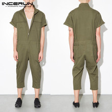 Stylish Punk Male Overalls Dungarees Jumpsuits Rompers Baggy Pants Men Casual Ju