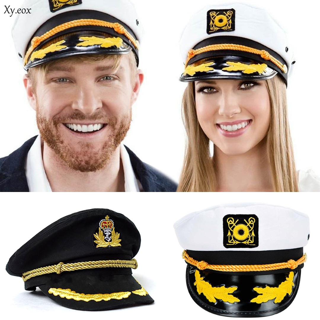 Unisex Men Women Sailor Hat Officer Stag Night Nautical Fancy Dress Captain Cap