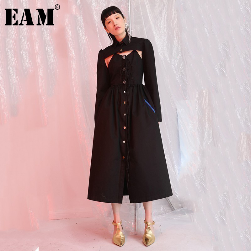 EAM 2019 New Spring Summer V collar Sleeveless Black Button Bandage Short Jacket Hollow Out