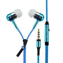 Metal Zipper Earphones  In Ear Sport Headset 3.5mm Universal Earbuds with Mic Earphone For iphone xiaomi fone de ouvido wireless bluetooth earphone sport headset for xiaomi iphone 8 x stereo earbuds earphones fone de ouvido with mic