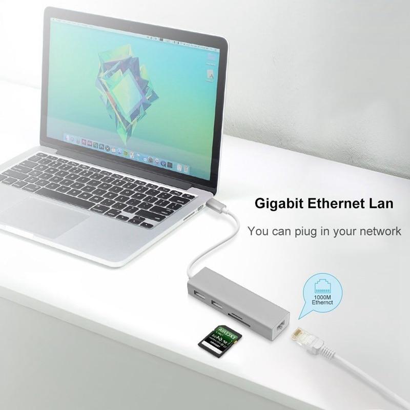 5 In 1 Usb C Hub 3,0 Typ-c Adapter Daten Sync Kartenleser Rj45 Ethernet Lan