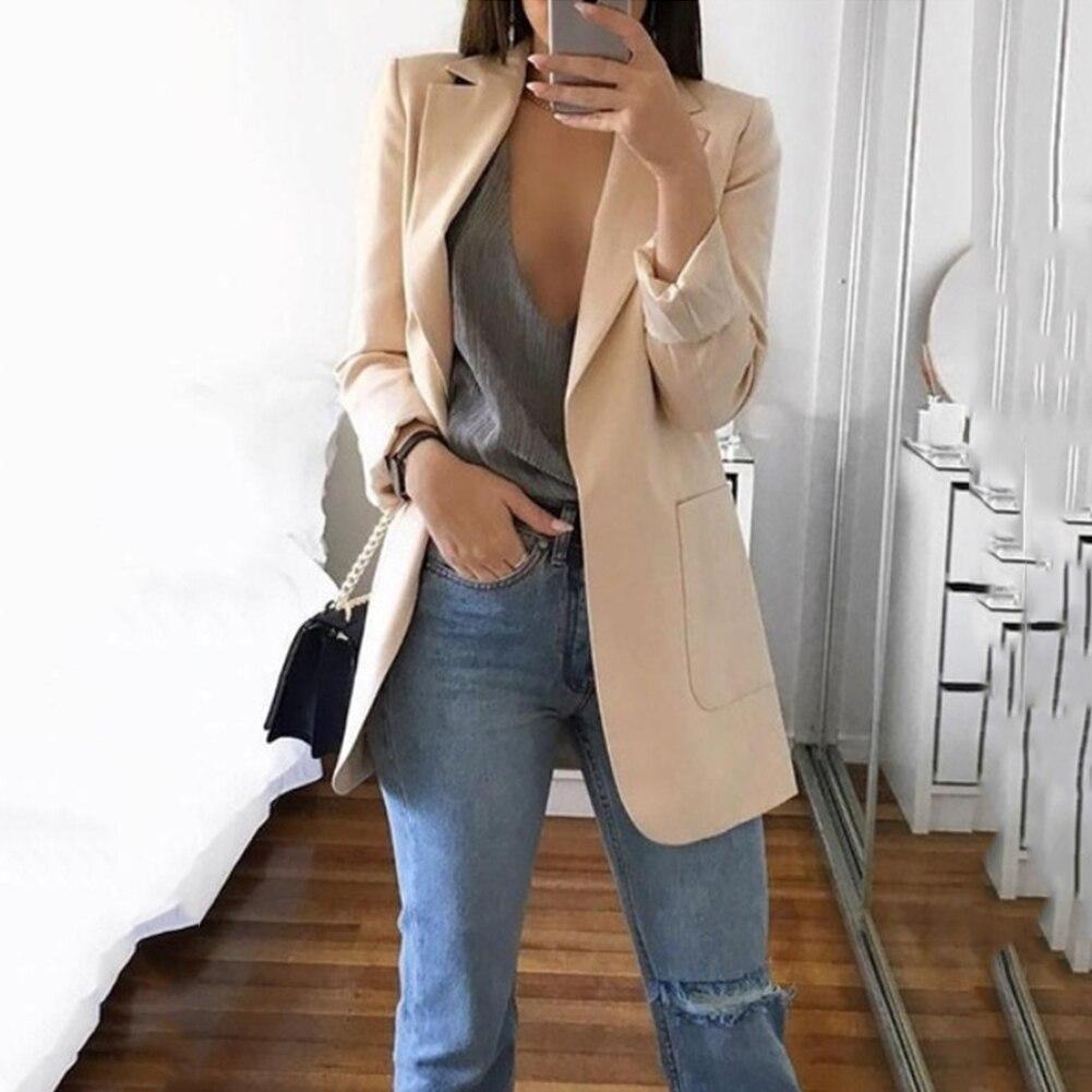 Blazer&Suits 2019 Spring Women Slim Blazers Female Work Office Suit Jacket Ladies Khaki None Button Notched Coat Blazer Femme