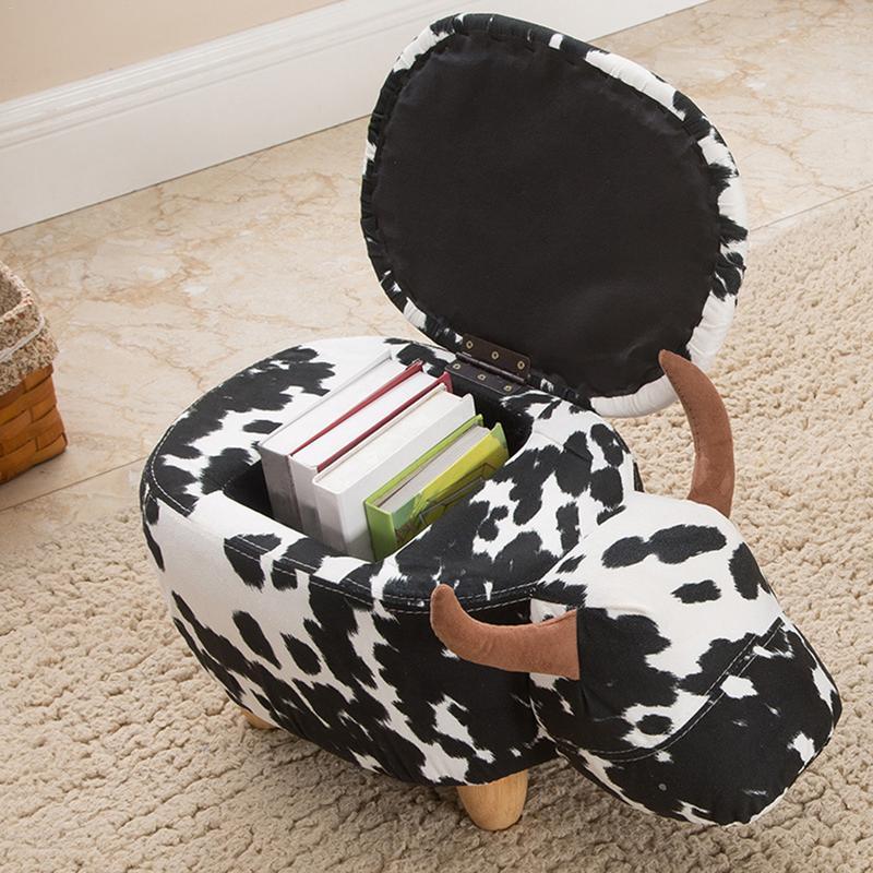 Mignon Animal Style bovins tabourets chaise en bois avec boîte de rangement changement chaussure banc enfant canapé meubles de rangement décor à la maison banc - 4