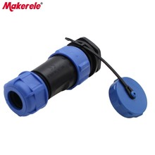 цена на 2P IP68 Waterproof Connector Diameter 21mm Rear Socket Nut Aviation Plug SP21 Suitable For 8-12mm Cable Conversion Plug