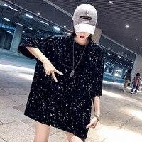 e5e4a81a74 4253 Summer White Black Long Plus Size T Shirts Women With Tie Dye Shinny  Loose