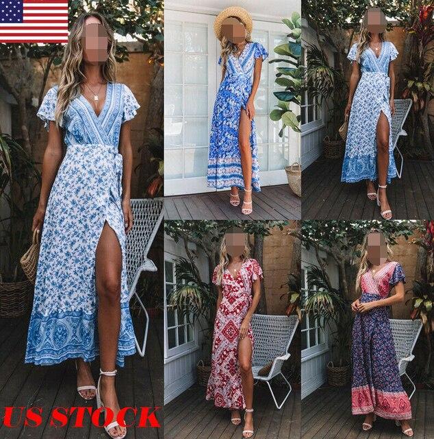 8f69a443819f 2019 Fashion Boho Floral Dress Women Vintage Short Sleeve Floral Split V  Neck Evening Party Summer Lady Beach Long Maxi Dress