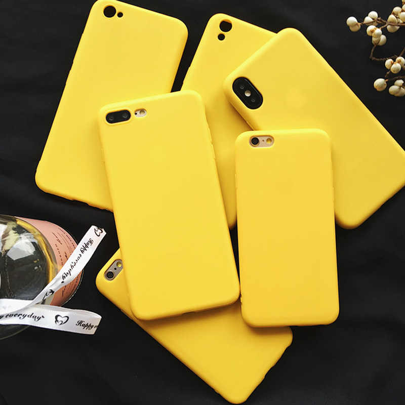 Lovebay Lemon Kuning Warna Fashion Ponsel Case untuk iPhone X Max XR X 5 5 S SE 6 6 S 7 8 PLUS Soft Back Cover UNTUK iPhone 7 Case